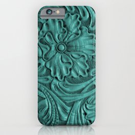 Teal Flower Tooled Leather iPhone Case
