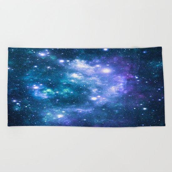 Violet Teal Galaxy Nebula Beach Towel