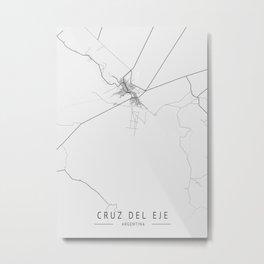 Cruz Del Eje -  Argentina Gray City Map Metal Print