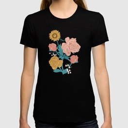 Paint by Numbers Florals on Navy T-shirt