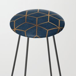 Dark Blue and Gold - Geometric Textured Cube Design Counter Stool