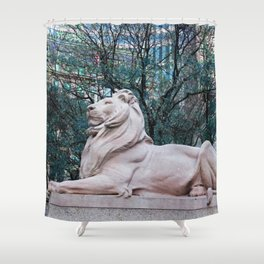 Patience in Teal Shower Curtain