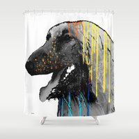 the hound Shower Curtains featuring Afghan Hound by Marlene Watson