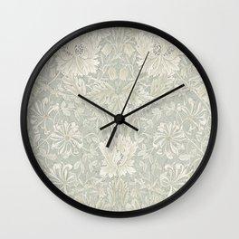 William Morris Honeysuckle & Tulip Pale Grey Blue Floral Wall Clock