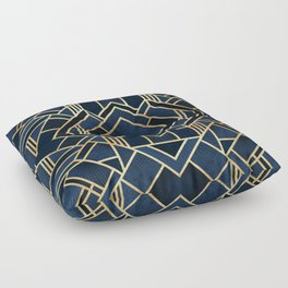 Art Deco Fancy Blue Floor Pillow