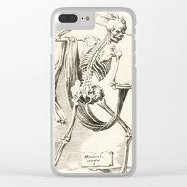 Vintage Skeleton Illustration Clear iPhone Case