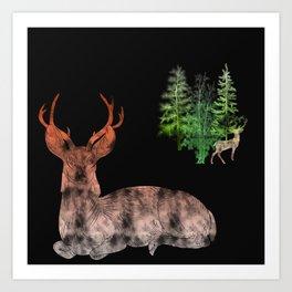 Woodland Deer Art Print