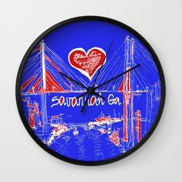 I love Savannah blu Wall Clock
