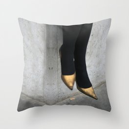 the girl in the gold shoes Throw Pillow