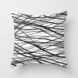 White and Black Stripes Shakers Throw Pillow