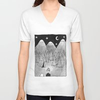 camping V-neck T-shirts featuring Camping. by Caleb Boyles