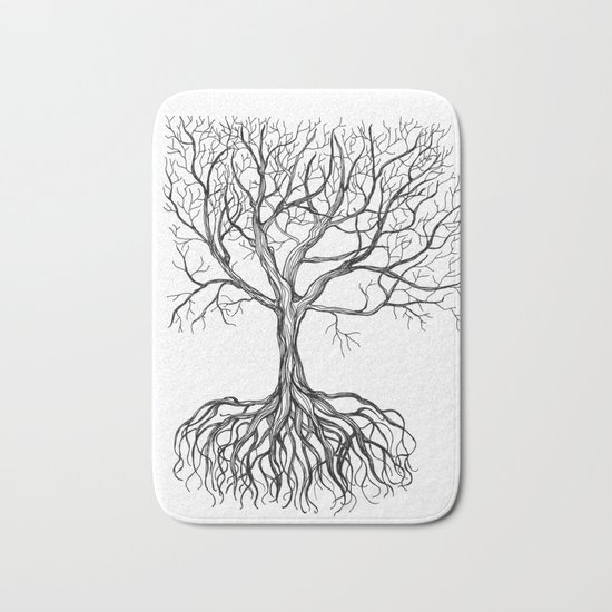 Bare tree with root Bath Mat