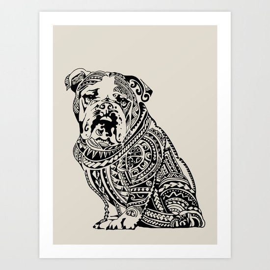 Polynesian English Bulldog Art Print by Huebucket | Society6