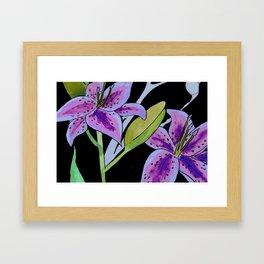 Purple tie dye flower Framed Art Print