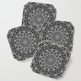 Black and White Simple Simplistic Mandala Design Ethnic Tribal Pattern Coaster
