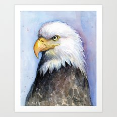 Bald Eagle Watercolor Bird Wildlife Animals Art Print