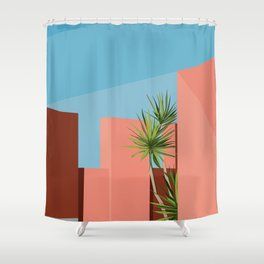 Coral space Shower Curtain