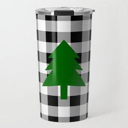 Christmas Tree - black buffalo check Travel Mug