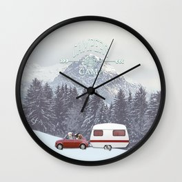 NEVER STOP EXPLORING - CAMPERS GONNA CAMP Wall Clock