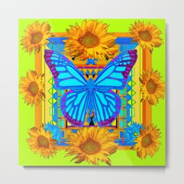 Lime Sunflower Blue Butterfly Floral Metal Print