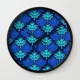 Maple Leaf Heart Pattern (night_sky) Wall Clock
