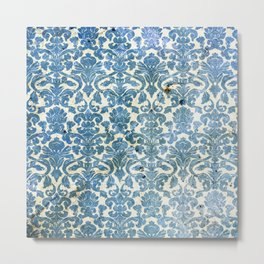 Vintage Antique Blue Wallpaper Pattern Metal Print