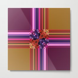 Purplish-Red and Gold Colorblock Abstract Metal Print