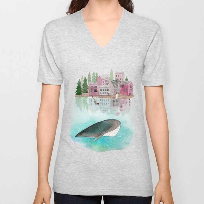 A whale is passing by Unisex V-Neck