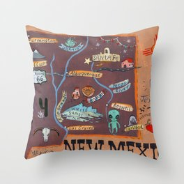 New Mexico map Throw Pillow