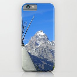Tipi with snow capped mountains iPhone Case