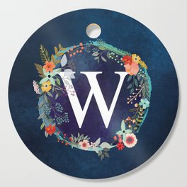 Personalized Monogram Initial Letter W Floral Wreath Artwork Cutting Board