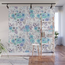 Lilac teal blue hand painted watercolor floral Wall Mural