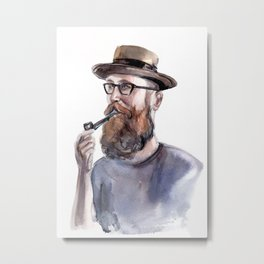 Red-haired bearded man in a hat Metal Print