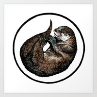 otter Art Prints featuring Otter by Natalie Toms Illustration