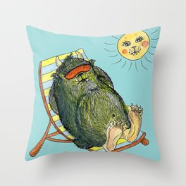 Mega Monsters Sunbath III. Throw Pillow