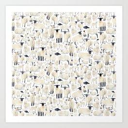 Watercolour Sheep Art Print