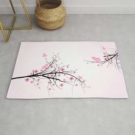 Pink Cherry Blossom Flowers Rug
