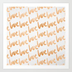 Valentines Day Copper Bronze Gold Love Word Typography Pattern Art Print