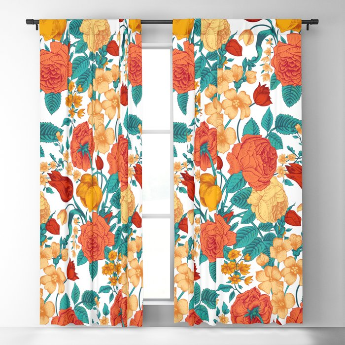 Vintage flower garden Blackout Curtain