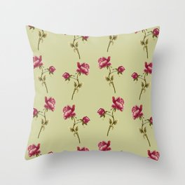 Embroidered Rose Throw Pillow
