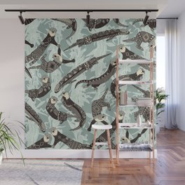 sea otters silver Wall Mural