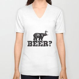 Retro Deer Beer Bear Funny Vintage Style Trucker T-Shirts Unisex V-Neck