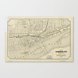 Map of Harrisburg, Pennsylvania (1884) Canvas Print