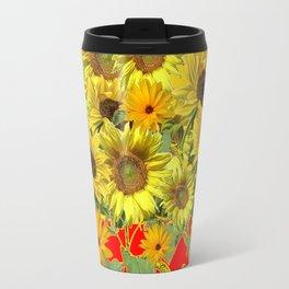 GOLDEN-RED SUNNY YELLOW SUNFLOWERS Travel Mug