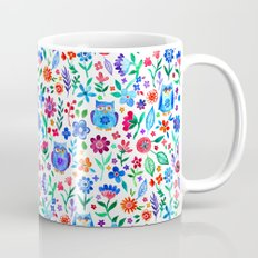 Little Owls and Flowers on White Mug