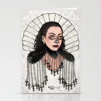heavy metal Stationery Cards featuring Heavy Metal Venus by Helen Green