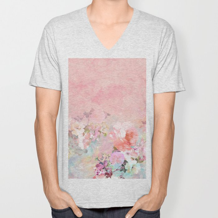 Modern blush watercolor ombre floral watercolor pattern Unisex V-Neck