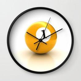 yellow pool billiard ball number 1 one Wall Clock