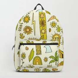 doodle daydreams sunshine and good vibes // retro art by surfy birdy Backpack