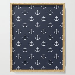 Yacht style. Anchor. Navy blue. Serving Tray
